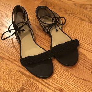 EUC Ann Taylor suede ankle tie flat sandals